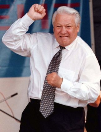 Russian President Boris Yeltsin dancesat a pop concert in Rostov in this June 10, 1996 file photo. Yeltsin has died, a spokeswoman for the Kremlin said on April 23, 2007. REUTERS/Viktor Korotayev/Files (RUSSIA)