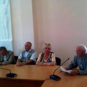 М.А.Боков, Г.Ф.Адомайтис и И. С. Слепынин на заседании правления областной организации «Дети войны»