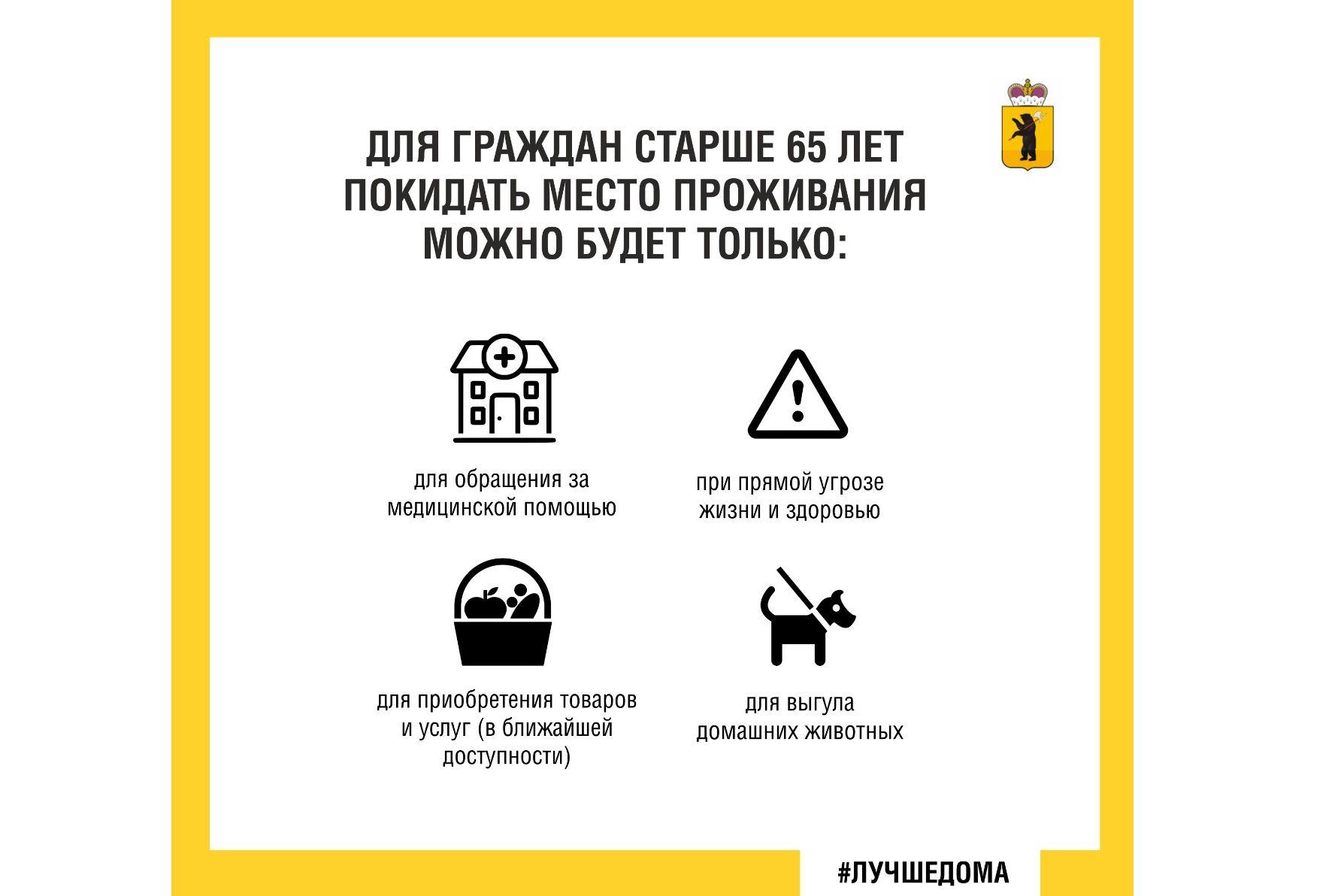 В Ярославской области ввели обязательный режим самоизоляции для людей старше 65 лет